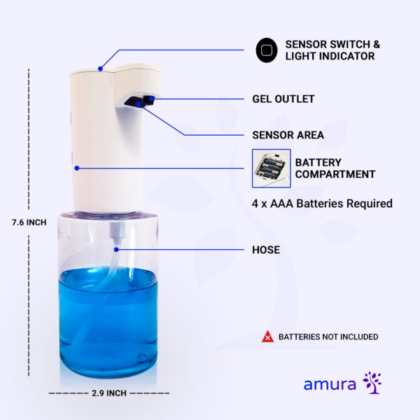 Amura Touchless Infrared Automatic Soap Dispenser Specifications